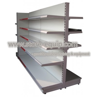 Euro retail shelving with flat panel in RAL9001